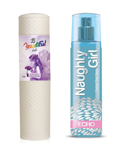 BEAUTIFUL TALC 250gm ANGELIC & Naughty Girl ECHO 135 ml (Set of 2 for Women)