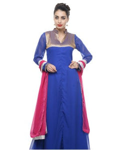 DRAPES & SILHOUETTES Semi Stitched Long Gown With Dupatta