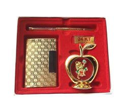 International Gift Gold Plated Pen with Gold Plated Visiting Card Holder and Gold Plated Apple Shape Hanuman God Idol Car Dashboard Best Gift Or Diwali Gift/Wedding Gift and Corporate Gift $ IGSPBR101020