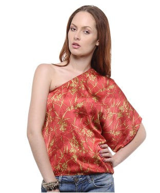 Elle Red-Olive One Shoulder Top