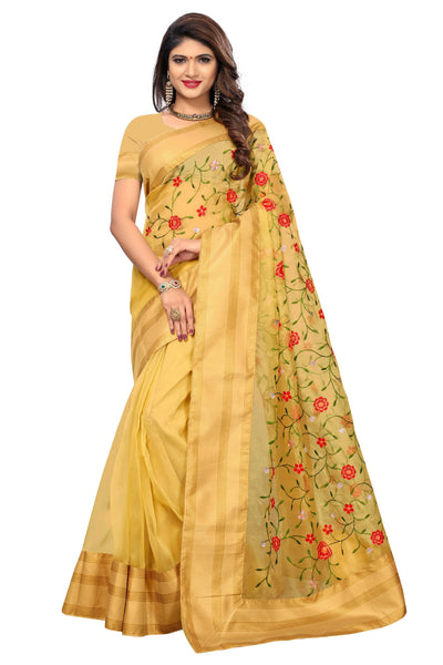 YOYO Fashion New Latest Poli Net Yellow Embroidered Saree With Blouse $ YOYO-SARI2636