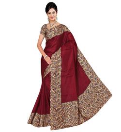BL Enterprise Women's Bhagalpuri Cotton Silk Maroon Color Saree With Blouse Piece $ BLLB-44