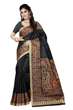 BL Enterprise Women's Bhagalpuri Cotton Silk Kalamkari Black Color Saree With Blouse Piece $ BLLB-23