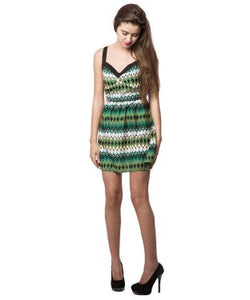 AMERICAN SWAN Green and Multi SHORT DRESS