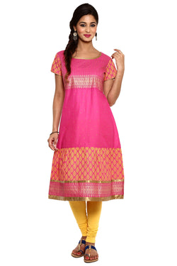 Mytri Women's Pink Cambric Printed A-Line Kurta $ 9000494-PINK