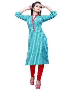 Muta Fashions Women's Stitched Polyster Cotton Sky Blue Knee length kurta $ KURTI410
