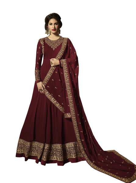 YOYO Fashion Georgette Anarkali Semi-Stitched salwar suit $ F1295-Red