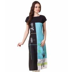 Manvi Fashion Women's Designer Partywear Blue & Black Color American Crepe Fabric Digital Printed Readymade Kurti $ MF 2812