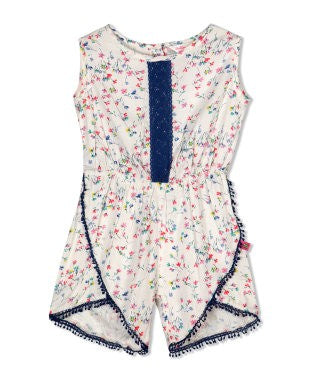 Budding Bees Girls Off White Playsuit