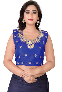 YOYO Fashion Blue Silk Embriodered Extra Sleeve With Blouse $ YOYO1-BL4004-Blue