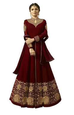 YOYO Fashion Georgette Anarkali Semi-Stitched salwar suit $F1296-Red