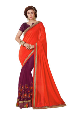 Muta Fashions Women's Unstitched Georgette Red Saree $ MUTA1425