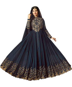 YOYO Fashion Semi-Stitched Designer Faux Georgette heavy Embroidred and Hand work Anarkali Suit $1194-Navy Blue