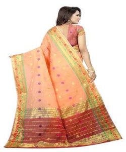 Moksha orange jacquard and cotton Designer saree
