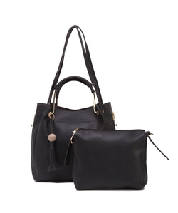 Fiona Trends Black PU Shoulder Bag,612_BLACK