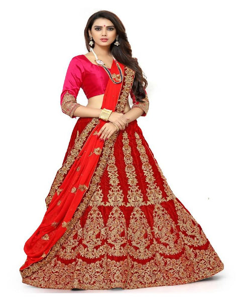 Muta Fashions Women's Semi Stitched Pure Velvet Red Lehenga $ LEHENGA174