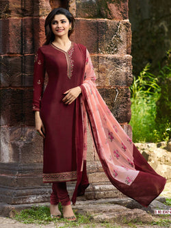YOYO Fashion Maroon Crepe Straight Semi-Stitched Salwar Suit With Dupatta $ F1286