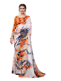 YOYO Fashion Printed Georgette Orange Saree With Blouse $YOYO-SARI2619-Orange