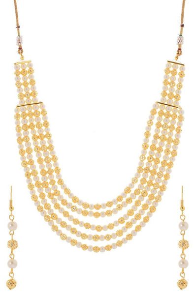 Linked Pearl Chains Necklace Set - JNFHNES9992