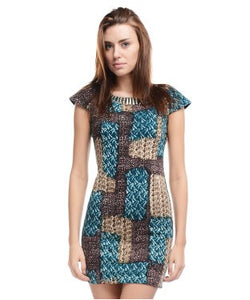 ALLISON TAYLOR Teal Green, Brown and Cream SHORT DRESS