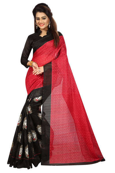 16TO60TRENDZ Red Color Printed Bhagalpuri Silk Saree $ SVT00453