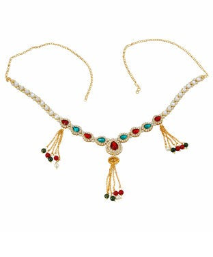 Adoreva Red Green White Gold Plated Traditional Belly Chain Kandora and Girls