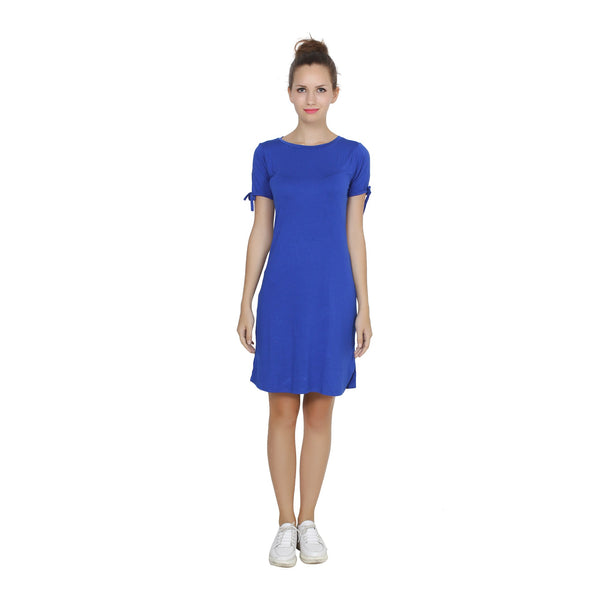 Second Half Royal Blue Knotted Sleeve Dress-SH0014