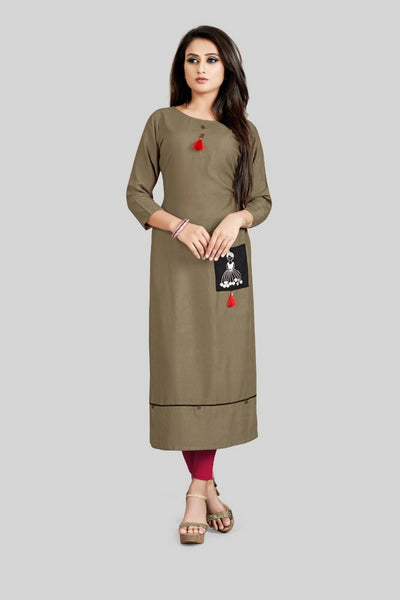 16TO60TRENDZ Olive green Rayon Patch Work Stiched long Kurti $ SVT00175