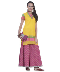 DESI THREADS Yellow Kurti