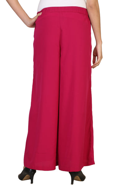 Vaniya Women Trouser Crepe Red Solid Plazo $ VN-P105