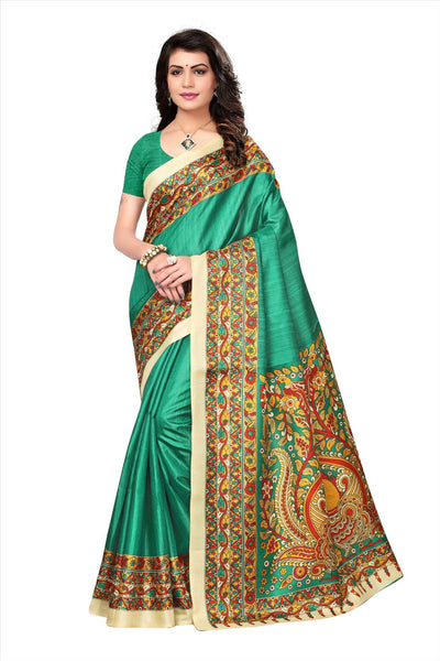 BL Enterprise Women's Bhagalpuri Cotton Silk Kalamkari Green Color Saree With Blouse Piece $ BLLB-25