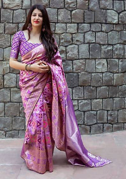 Fashion Zonez Patola weving work Banarasi Patola Silk Purple Designer Saree With Blouse $ FZ 2727