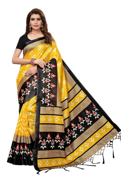 16to60trendz Yellow and Black Art Silk Printed Mysore Art Silk Saree $ SVT00204