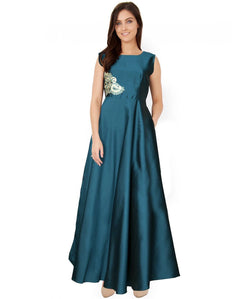 Fabricvilla New Dazzling Taffeta Sea Green Long Anarkali style Gown