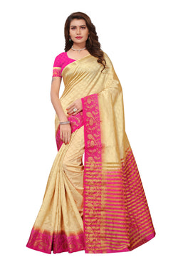 16to60trendz Beige and Pink Tusar Silk Handloom Art Work Kanjivaram saree $ SVT00042