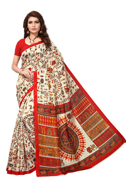 16TO60TRENDZ Multi Color Printed Bhagalpuri Silk Saree $ SVT00460