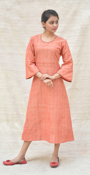 Rust Orange Khadi Cotton Plain Flared tunic $ IWK-000497