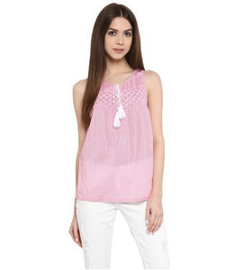 Miway Pink & white Solid Top