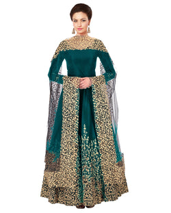 YOYO Fashion Designer Embroidered Tafeta Silk Bridal Anarkali Salwar Suit - F1075-Firoji