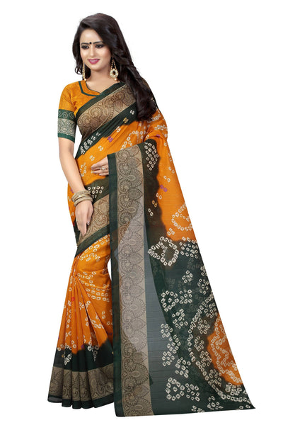 16TO60TRENDZ Yellow Color Printed Bhagalpuri Silk Saree $ SVT00428