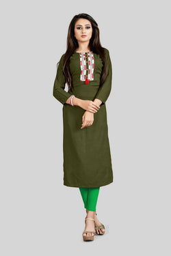 16TO60TRENDZ Olive Rayon Patch Work Stiched long Kurti $ SVT00177
