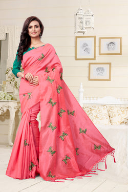 YOYO Fashion New Latest Joya silk Peach Embroidered Saree With Blouse $YOYO-SS-SARI2649