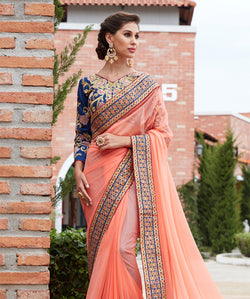 Orange Silk Embroidery Saree with Blouse