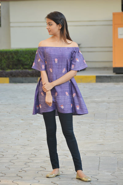 Purple Off-shoulder Khadi Cotton Cactus Top $ IWK-000580