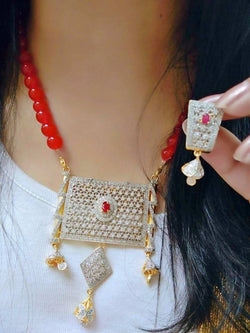Gold Plated Brass Hand Crafted Work Women's Red Buscuit Necklace set $ AF788636