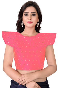 YOYO Fashion Peach Malbari Solid Extra Sleeve With Blouse $ YOYO1-BL4003-Peach