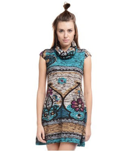 ALLISON TAYLOR Blue, Brown and Multi SHORT DRESS