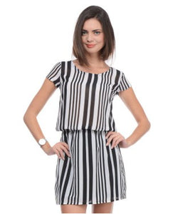 UNITED COLORS OF BENETTON Black and White SHORT DRESS