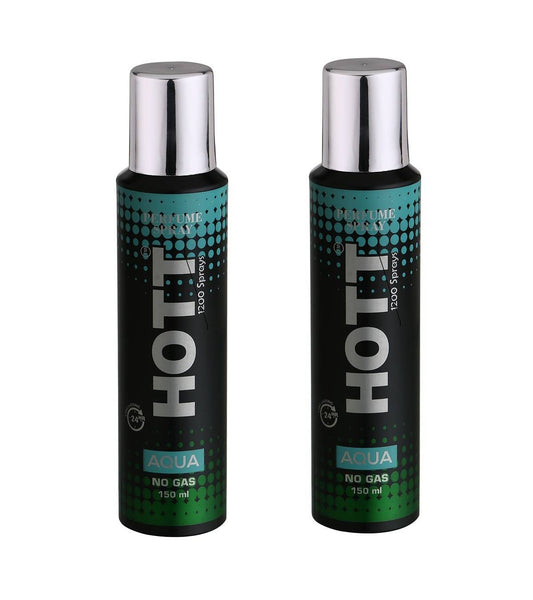 HOTT AQUA NO Gas Deodorant for Men- Pack of 2 (150ml each)
