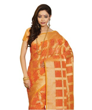 Laethnic Orange Supernet Saree